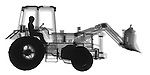 X-ray image of a utility tractor (black on white) by Jim Wehtje, specialist in x-ray art and design images.