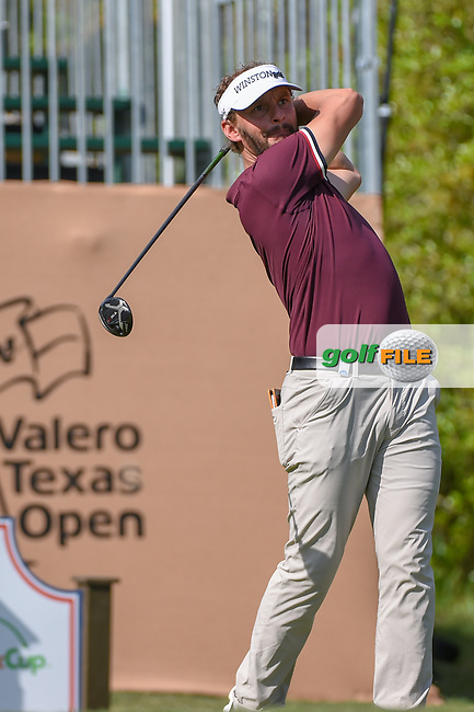 Joost Luiten (NED) watches his tee shot on 1 during day 1 of the Valero Texas Open, at the TPC San Antonio Oaks Course, San Antonio, Texas, USA. 4/4/2019.<br />