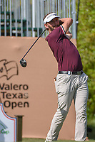 Joost Luiten (NED) watches his tee shot on 1 during day 1 of the Valero Texas Open, at the TPC San Antonio Oaks Course, San Antonio, Texas, USA. 4/4/2019.<br /> Picture: Golffile | Ken Murray<br /> <br /> <br /> All photo usage must carry mandatory copyright credit (© Golffile | Ken Murray)