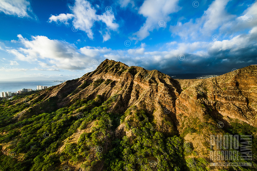 The summit of Diamond Head Crater, with Waikiki on the left, East O'ahu.