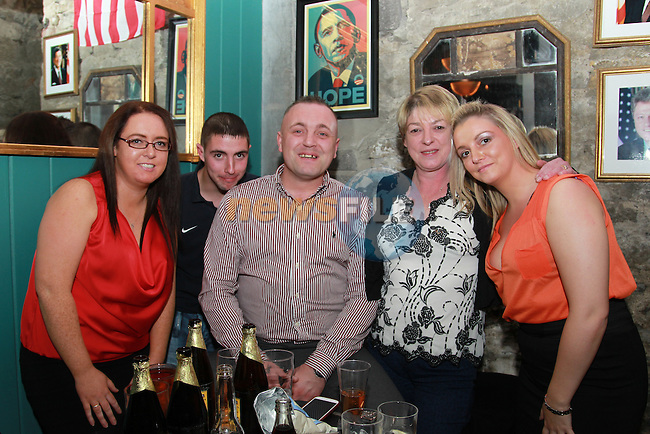 Niamh O'Rourke Darren Gallagher Karl Coyle Margaret Gallagher 50 and Samantha Gallagher.enjoying the night out...Picture: Fran Caffrey/www.newsfile.ie.