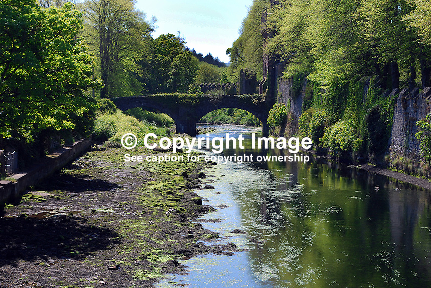 Glenarm River, Glenarm, Co Antrim, N Ireland. The bridge is an extension of Castle Street which links the town with Glenarm Castle on the right. 201205265881. ..© Victor Patterson, 54 Dorchester Park, Belfast, N Ireland. Tel: +44 2890661296; Mobile: +44 7802 353836; Emails: victorpatterson@me.com & victorpatterson@gmail.com; www.victorpatterson.com