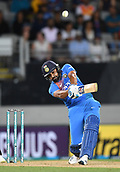 8th February 2019, Eden Park, Auckland, New Zealand;  India's Rohit Sharma hits a 6. New Zealand v India in the Twenty20 International cricket, 2nd T20.