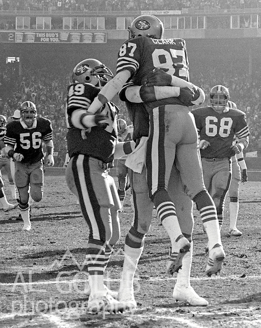San Francisco 49ers vs.Dallas Cowboys at Candlestick Park Sunday, January 10. 1982..49ers beat Cowboys 28-27 for Conference Championship..San Francisco Wide Receiver Dwight Clark (87) celebrates touchdown...Photo By Al Golub/Golub Photography.