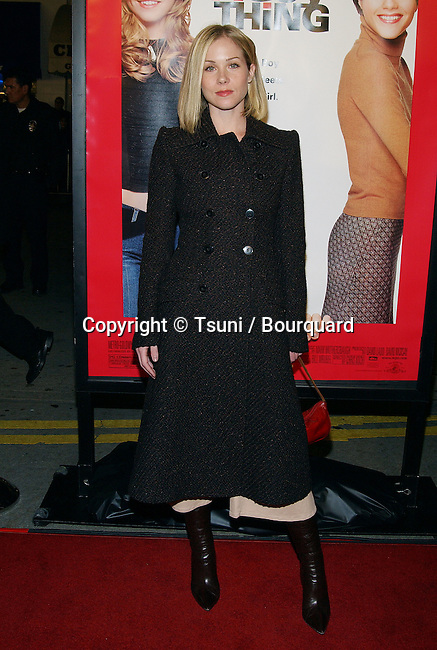 """Christina Applegate arriving at the premiere of """" A Guy Thing """" at the Mann's Bruin Theaatre in Los Angeles. January 14, 2003."""