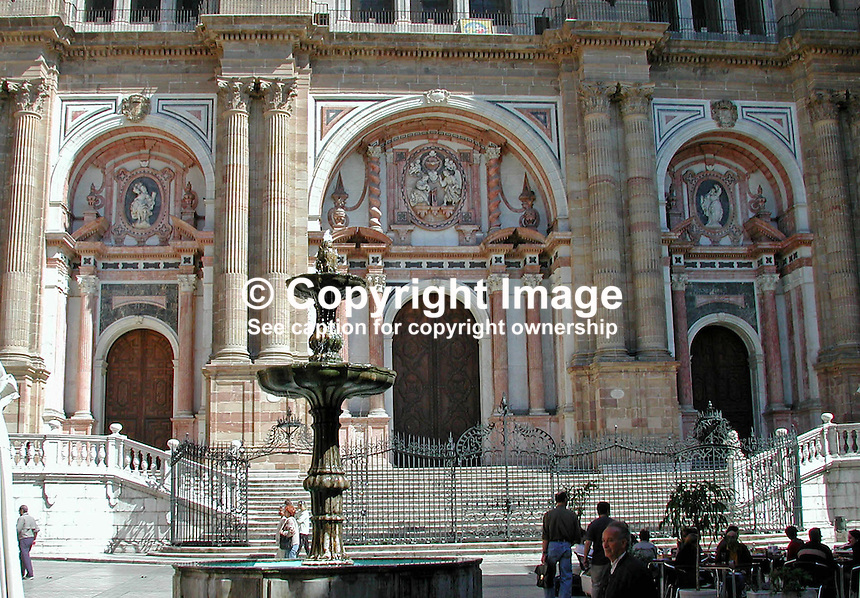 Front facade, Malaga Cathedral, Spain, Ref: 2001032208, March, 2001..Copyright Image from Victor Patterson, 54 Dorchester Park, Belfast, UK, BT9 6RJ..Tel: +44 28 9066 1296.Mob: +44 7802 353836.Voicemail +44 20 8816 7153.Skype: victorpattersonbelfast.Email: victorpatterson@mac.com.Email: victorpatterson@ireland.com (back-up)..IMPORTANT: If you wish to use this image or any other of my images please go to www.victorpatterson.com and click on the Terms & Conditions. Then contact me by email or phone with the reference number(s) of the image(s) concerned.