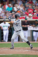 Drew Longley (14) of the West Michigan Whitecaps at bat against the Dayton Dragons at Fifth Third Field on May 29, 2017 in Dayton, Ohio.  The Dragons defeated the Whitecaps 4-2.  (Brian Westerholt/Four Seam Images)