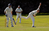 Scottish National Cricket League, Premier Div - Carlton V Aberdeenshire - 'Shires Chris  West bowls past Carlton (and former Scotland) batsman Cedric English - Picture by Donald MacLeod - 30 May 2009