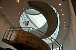The spiral staircase inside the Dali Museum in St. Petersburgh, Florida which was designed by Yann Weymouth at HOK and opened in 2011; the museum was founded by A. Reynolds and Eleanor Morse who started collecting Dali paintings in 1943