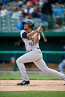 Kane County Cougars third baseman Ramon Hernandez (19) follows through on a swing during a game against the South Bend Cubs on May 3, 2017 at Four Winds Field in South Bend, Indiana.  South Bend defeated Kane County 6-2.  (Mike Janes/Four Seam Images)