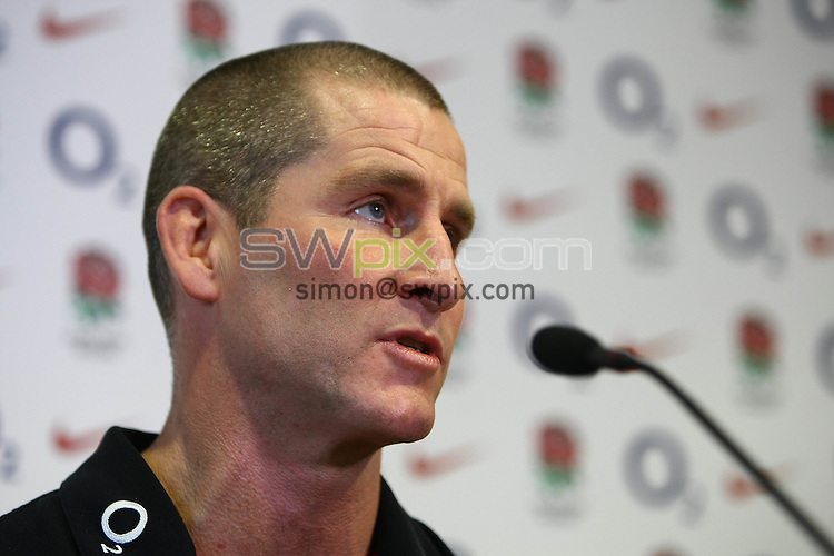 PICTURE BY VAUGHN RIDLEY/SWPIX.COM - Rugby Union - England Rugby Union Squad Announcement - West Park Leeds RU, Leeds, England - 11/01/12 - Head Coach Stuart Lancaster announces the England Senior & Saxons Elite Player Squads in the lead up to the 2012 6 Nations Tournament.