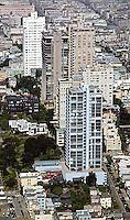 aerial photograph Russian Hill residential high rise apartment buildings San Francisco