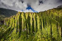 An aerial view of the Ko'olau Mountains, Kane'ohe, O'ahu.