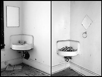Diptych of sinks. The burned out and abandoned Stratford Hotel; 2.10.2006