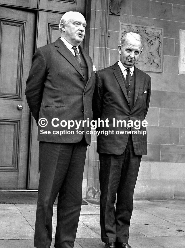 Brian Faulkner (right), Ulster Unionist MP, after being sworn in as Prime Minister by Lord Grey, Governor of N Ireland (left), at Government House, HIllsborough. 173/71,  197103220173G.<br /> <br /> Copyright Image from Victor Patterson, 54 Dorchester Park, Belfast, UK, BT9 6RJ<br /> <br /> t1: +44 28 9066 1296 (from Rep of Ireland 048 9066 1296)<br /> t2: +44 28 9002 2446 (from Rep of Ireland 048 9002 2446)<br /> m: +44 7802 353836<br /> <br /> e1: victorpatterson@me.com<br /> e2: victorpatterson@gmail.com<br /> <br /> www.victorpatterson.com<br /> <br /> IMPORTANT: Please see my Terms and Conditions of Use at www.victorpatterson.com