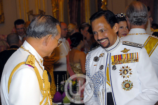 The Sultan of Brunei, Hassanal Bolkiah attends a Banquet for foreign monarchs & royal guests at the Chakri Maha Prasat Throne Hall, hosted by Thai King Bhumibol Adulyadej, during the celebrations to mark the 60th anniversary of his accession to the throne...Pool Picture supplied by UK Press Ltd