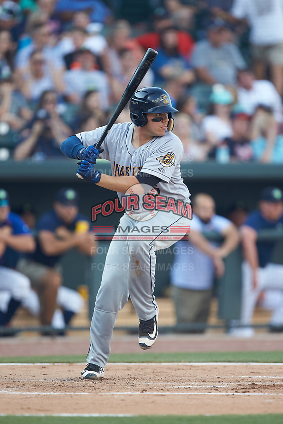 Donny Sands (15) of the Charleston RiverDogs at bat against the Columbia Fireflies at Spirit Communications Park on June 9, 2017 in Columbia, South Carolina.  The Fireflies defeated the RiverDogs 3-1.  (Brian Westerholt/Four Seam Images)