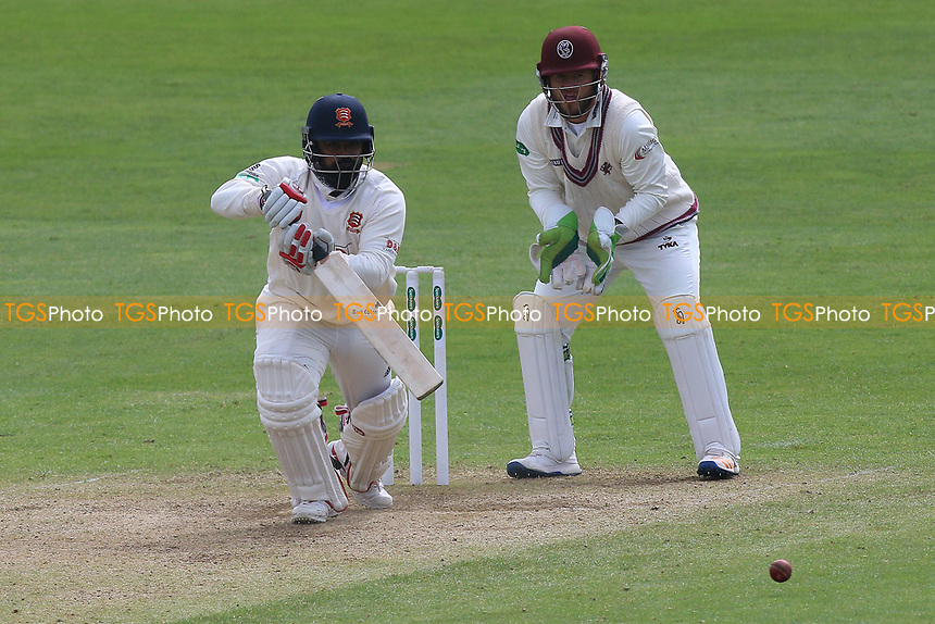 Ashar Zaidi in batting action for Essex as Steven Davies looks on from behind the stumps during Somerset CCC vs Essex CCC, Specsavers County Championship Division 1 Cricket at The Cooper Associates County Ground on 15th April 2017