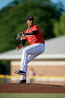 Batavia Muckdogs starting pitcher Alberto Guerrero (41) delivers a pitch during a game against the Williamsport Crosscutters on June 21, 2018 at Dwyer Stadium in Batavia, New York.  Batavia defeated Williamsport 6-5.  (Mike Janes/Four Seam Images)