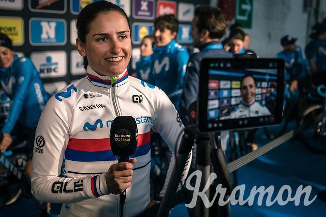 Serbian National Champion Jelena Eric (SRB/Movistar) pre race interview<br /> <br /> 75th Omloop Het Nieuwsblad 2020 (BEL)<br /> Women's Elite Race <br /> Gent – Ninove: 123km<br /> <br /> ©kramon