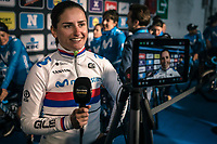 Serbian National Champion Jelena Eric (SRB/Movistar) pre race interview<br /> <br /> 75th Omloop Het Nieuwsblad 2020 (BEL)<br /> Women's Elite Race <br /> Gent – Ninove: 123km<br /> <br /> ©kramon