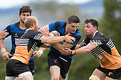 Zac Wootten goes for the gap between Caleb Brown and Richard Rosewarne. Counties Manukau Premier Counties Power Club Rugby Round 2, Game of the Week, between Te Kauwhata and Onewhero, played at Te Kauwhata on Saturday March 17th 2018. <br /> Photo by Richard Spranger.<br /> <br /> Onewhero won the game 43 - 10 after leading 21 - 10 at halftime.<br /> Te Kauwhata EnviroWaste  10 - Lani Latu try,  Caleb Brown 1 conversion, Caleb Brown 1 penalty.<br /> Onewhero 43 - Jackson Orr 2, Ilaisa Koaneti 2, Vaughan Holdt, Zac Wootten, Rhain Strang tries, Vaughan Holdt 4 conversions.