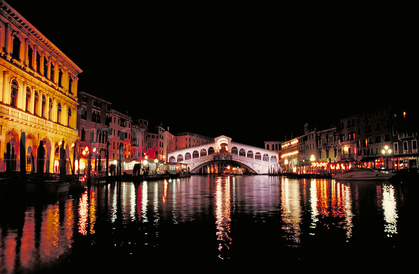 Rialto night skyline, Venice, Italy. cityscape, waterways, urban structure. Venice, Italy.