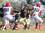 Palos Verdes, CA 10/27/17 - Tyshawn Wilson (Morningside #10) and Matt Collins (Peninsula #75)in action during the Morningside Monarchs - Palos Verdes Peninsula Varsity football game at Peninsula High School.