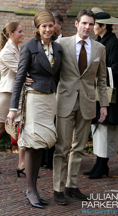 Prince Maurits & Princess Marilene of the Netherlands attend the Christening of Crown Prince Willem-Alexander & Crown Princess Maxima's daughter Princess Alexia at the Dorpskerk in Wassenaar..