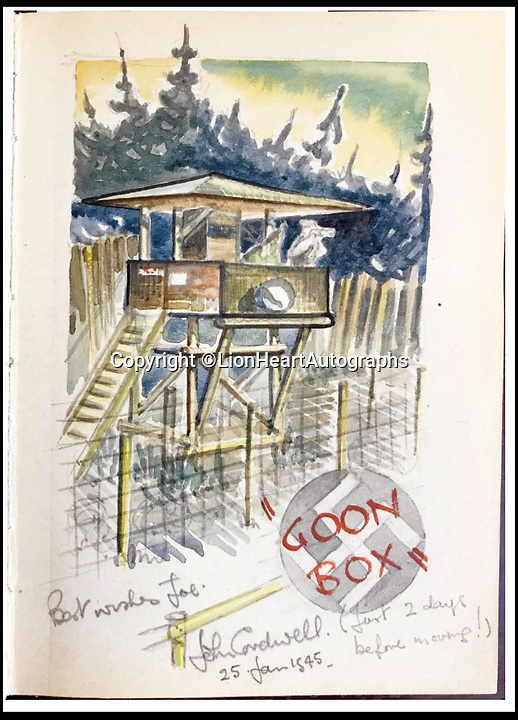 BNPS.co.uk (01202 558833)<br /> Pic:   LionHeartAutographs/BNPS<br /> <br /> One of the amusing sketches which poke fun at the guards, calling their lookout a 'Goon Box'.<br /> <br /> A remarkable diary kept by a POW in the Great Escape camp which includes a tribute to the 50 men executed in its reprisals has come to light.<br /> <br /> British RAF officer Joseph Gueuffen, of 609 Squadron, was shot down during a bombing raid over Germany and held captive at Stalag Luft III from late 1943 until the end of the war.<br /> <br /> The Belgian born pilot was kept in Block 109, a barrack which played an integral part in the mass escape of prisoners on March 24, 1944.<br /> <br /> The diary boasts a list of the officers executed by the Nazis following their recapture and a drawing of the permanent memorial for them by Belgian RAF pilot Bobby Laumans.