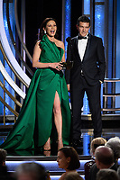 Catherine Zeta-Jones and Antonio Banderas present at the 76th Annual Golden Globe Awards at the Beverly Hilton in Beverly Hills, CA on Sunday, January 6, 2019.<br /> <br /> <br /> *Editorial Use Only*<br /> CAP/PLF/HFPA<br /> Image supplied by Capital Pictures