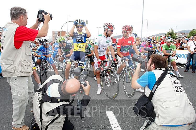 Alejandro Valverde (r), Alberto Contador (l) and Joaquin Purito Rodriguez during the stage of La Vuelta 2012 between Barakaldo and Valdezcaray.August 21,2012. (ALTERPHOTOS/Paola Otero)