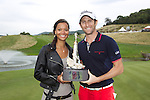 2013 ISPS Handa Wales Open champion Gregory Bourdy celebrates with his girlfriend Annabelle Savignan at the <br /> Celtic Manor Resort<br /> <br /> 01.09.13<br /> <br /> ©Steve Pope-Sportingwales