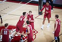 STANFORD, CA - March 14, 2019: Kyler Presho, Paul Bischoff, Jaylen Jasper, Chris Moore, Jordan Ewert, Eric Beatty at Maples Pavilion. The #8 Stanford Cardinal fell to the #6 Pepperdine Waves 3-0.