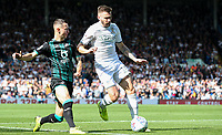 Leeds United's Stuart Dallas takes on Swansea City's Bersant Celina<br /> <br /> Photographer Alex Dodd/CameraSport<br /> <br /> The EFL Sky Bet Championship - Leeds United v Swansea City - Saturday 31st August 2019 - Elland Road - Leeds<br /> <br /> World Copyright © 2019 CameraSport. All rights reserved. 43 Linden Ave. Countesthorpe. Leicester. England. LE8 5PG - Tel: +44 (0) 116 277 4147 - admin@camerasport.com - www.camerasport.com