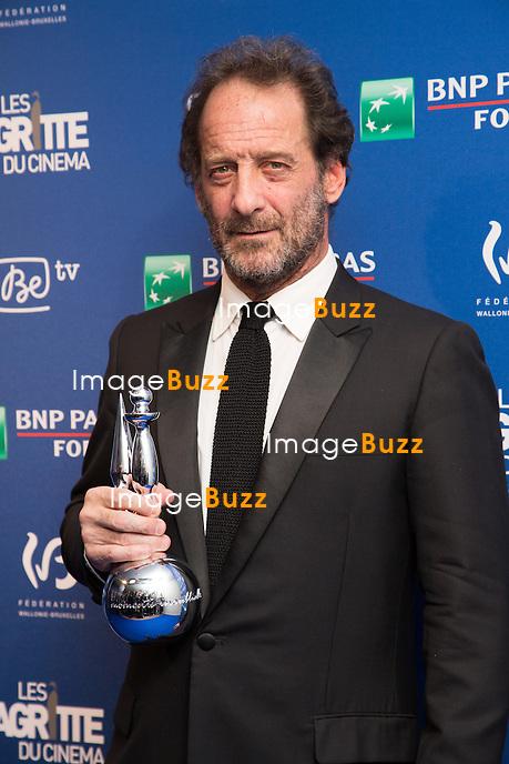Vincent Lindon / Magritte d'Honneur - Sixi&egrave;me c&eacute;r&eacute;monie des Magritte du cin&eacute;ma, qui r&eacute;compensent le septi&egrave;me art belge, au Square, &agrave; Bruxelles.<br /> Belgique, Bruxelles, 6 f&eacute;vrier 2016.<br /> Sixth edition of the Magritte du Cinema awards in Brussels.<br /> Belgium, Brussels, 7 February 2016