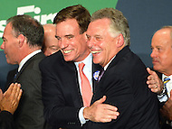 November 5, 2013  (Tysons Corner, Virginia)  Democrat Terry McAuliffe celebrates with former Governor Mark Warner after winning election to the Virginia governor's office.  (Photo by Don Baxter/Media Images International)