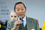The Hong Kong Jockey Club chairman Dr Simon Ip speaks prior to the Hong Kong Jockey Club Trophy during the Longines Masters of Hong Kong at the Asia World Expo on 09 February 2018, in Hong Kong, Hong Kong. Photo by Diego Gonzalez / Power Sport Images