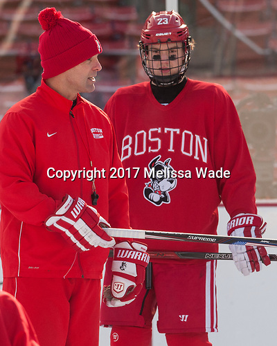 David Quinn (BU - Head Coach), Jakob Forsbacka Karlsson (BU - 23) - The Boston University Terriers practiced on the rink at Fenway Park on Friday, January 6, 2017.The Boston University Terriers practiced on the rink at Fenway Park on Friday, January 6, 2017.
