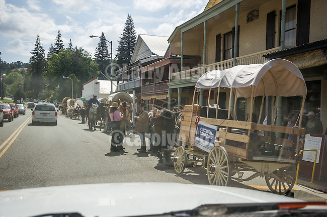Days of '49 wagon train in Sutter Creek, Calif.<br /> <br /> Diamond Jubilee commemoration of the founding of Amador County in 1854