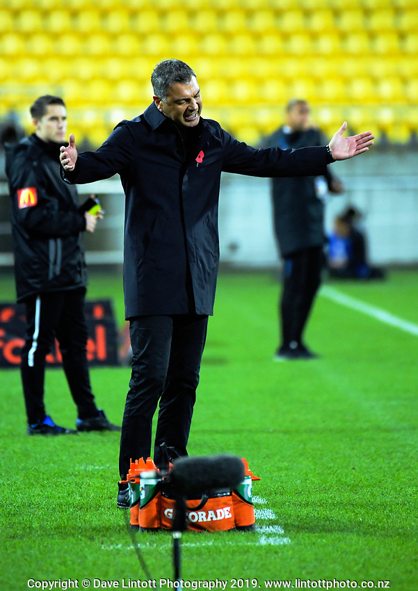 Phoenix head coach Mark Rudan during the A-League football match between Wellington Phoenix and Melbourne City FC at Westpac Stadium in Wellington, New Zealand on Sunday, 21 April 2019. Photo: Dave Lintott / lintottphoto.co.nz