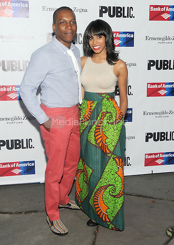 New York, NY- August 5: Leslie Odom Jr. and Nicolette Robinson attend the Public Theater's Opening Night of King Lear on August 5, 2014 at the Delacorte Theater in Central Park in New York City. . Credit: John Palmer/MediaPunch