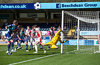 Garry Thompson of Wycombe Wanderers scores and equalises during the Sky Bet League 2 match between Wycombe Wanderers and Cheltenham Town at Adams Park, High Wycombe, England on the 8th April 2017. Photo by Liam McAvoy.