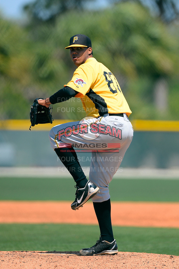 Pittsburgh Pirates pitcher Yhonatan Herrand #82 during a minor league Spring Training game against the Toronto Blue Jays at Pirate City on March 25, 2013 in Bradenton, Florida.  (Mike Janes/Four Seam Images)
