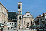 ".Hvar Island. Hvar harbour. ""Pjaca"" et cathedral Stjepan. Built in the XVI  century.Cruise in Croatia. Island of Dalmatia"
