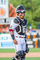 Wisconsin Timber Rattlers catcher Mario Feliciano (4) during game one of a Midwest League doubleheader against the Kane County Cougars on June 23, 2017 at Fox Cities Stadium in Appleton, Wisconsin.  Kane County defeated Wisconsin 4-3. (Brad Krause/Krause Sports Photography)