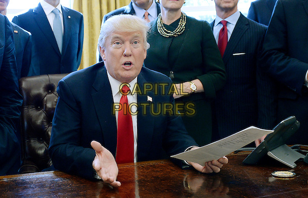 United States President Donald Trump speaks before signing an executive order establishing regulatory reform officers and task forces in US agencies in the Oval Office of the White House on February 24, 2017 in Washington, DC. <br /> CAP/MPI/CNP/RS<br /> &copy;RS/CNP/MPI/Capital Pictures