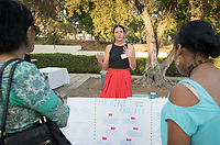 Sofia Benito was an intern at Machine Project. Career Services hosts the Summer Experience Expo, where Occidental College student interns from the InternLA program and INT Internship course shared information about the organizations they worked for over the summer. Sept. 7, 2017 at Thorne Hall patio. Employers were also in attendance.<br /> (Photo by Marc Campos, Occidental College Photographer)