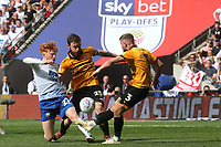 Tranmere's Ben Pringle and Mark O'Brien and Dan Butler of Newport County challenge for the ball during Newport County vs Tranmere Rovers, Sky Bet EFL League 2 Play-Off Final Football at Wembley Stadium on 25th May 2019