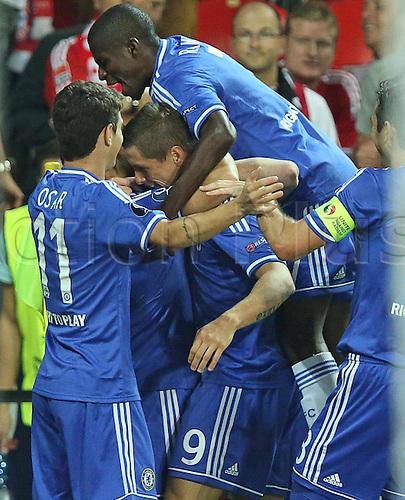 30.08.2013. Prague, Czech Republic.   UEFA Supercup 2013 FC Bayern Munich versus Chelsea. Fernando Torres  Chelsea scores the goal for 0-1